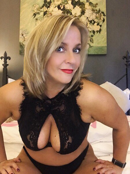 Hot Blonde Mom In Black Lingerie